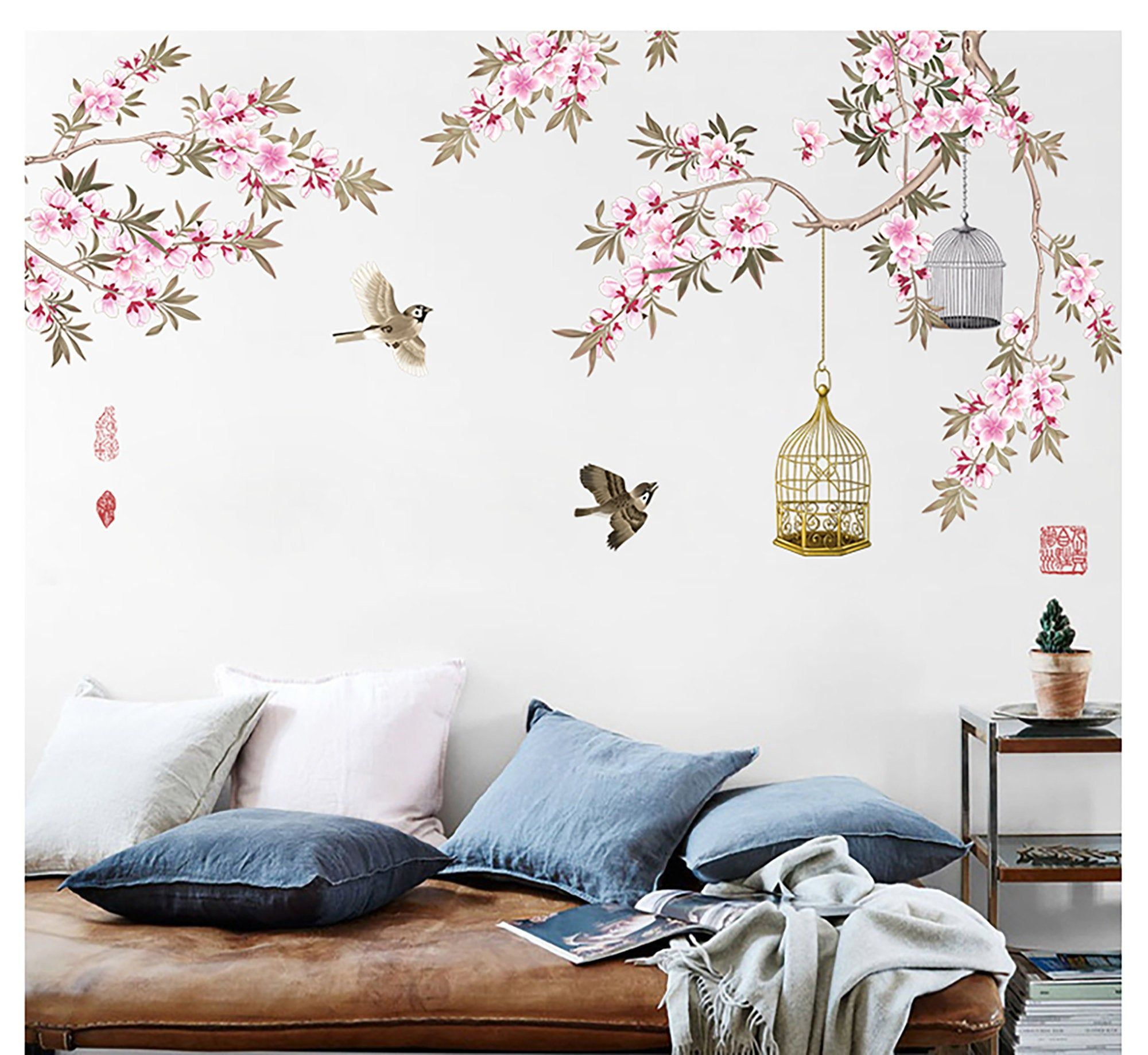Chinese Wind Peach Blossom Sofa TV Background Wall