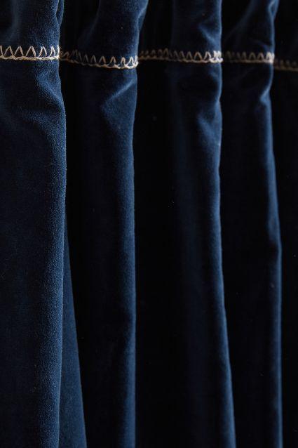 Velvet Dark Blue Hand-Embroidered Charente Curtain