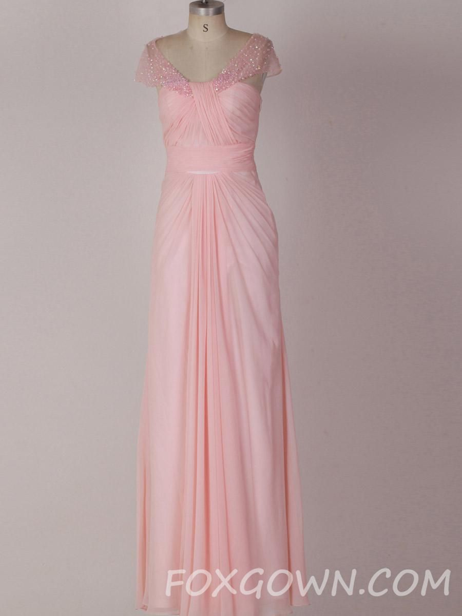 Formal evening dresses with sleeves light pink floor length