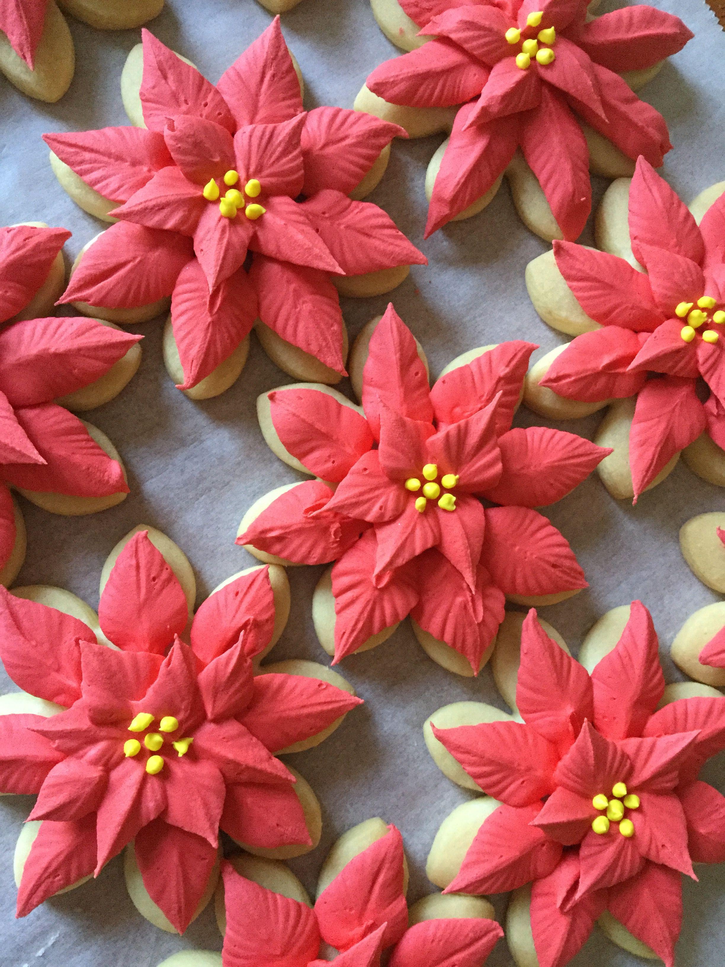 Poinsettia Sugar Cookies Traditional Christmas Cookies Christmas Cookies Decorated Christmas Sugar Cookies