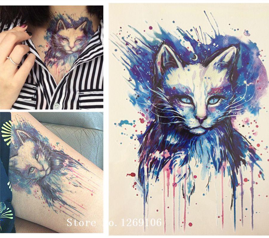 Mooie Blauwe Kat Hoge Kwaliteit Decals Body Art Decal Waterdicht Papier 21x15 cm #30