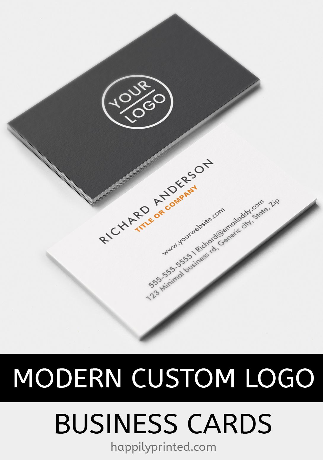 Custom logo business cards with customizable logo in the front a custom logo business cards with customizable logo in the front a white or light colored logo looks nice against the dark gray background reheart Choice Image