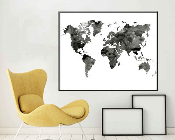 Black and White World Map Monochrome Art World Map Art World map
