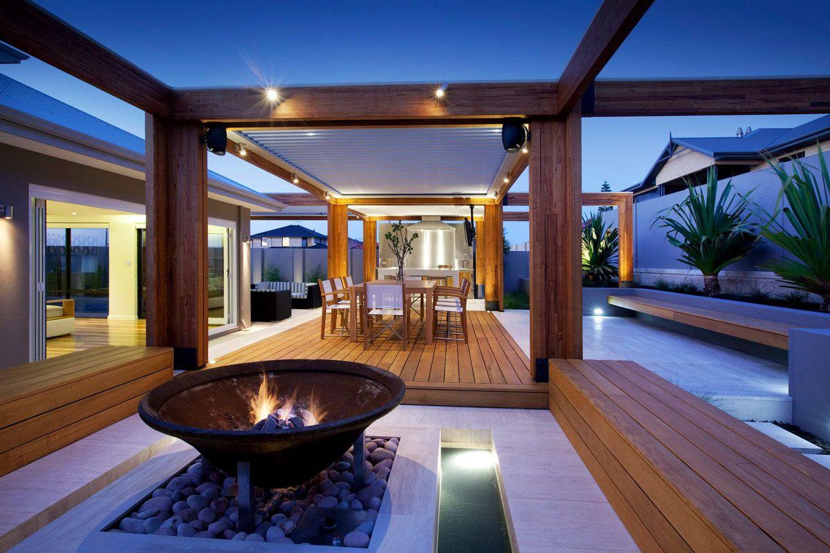 stylish backyard with teak decking idesignarch interior design