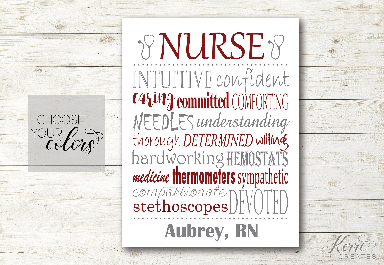 Nurse Subway Art Printable Personalized Gift For Rn Nurse New