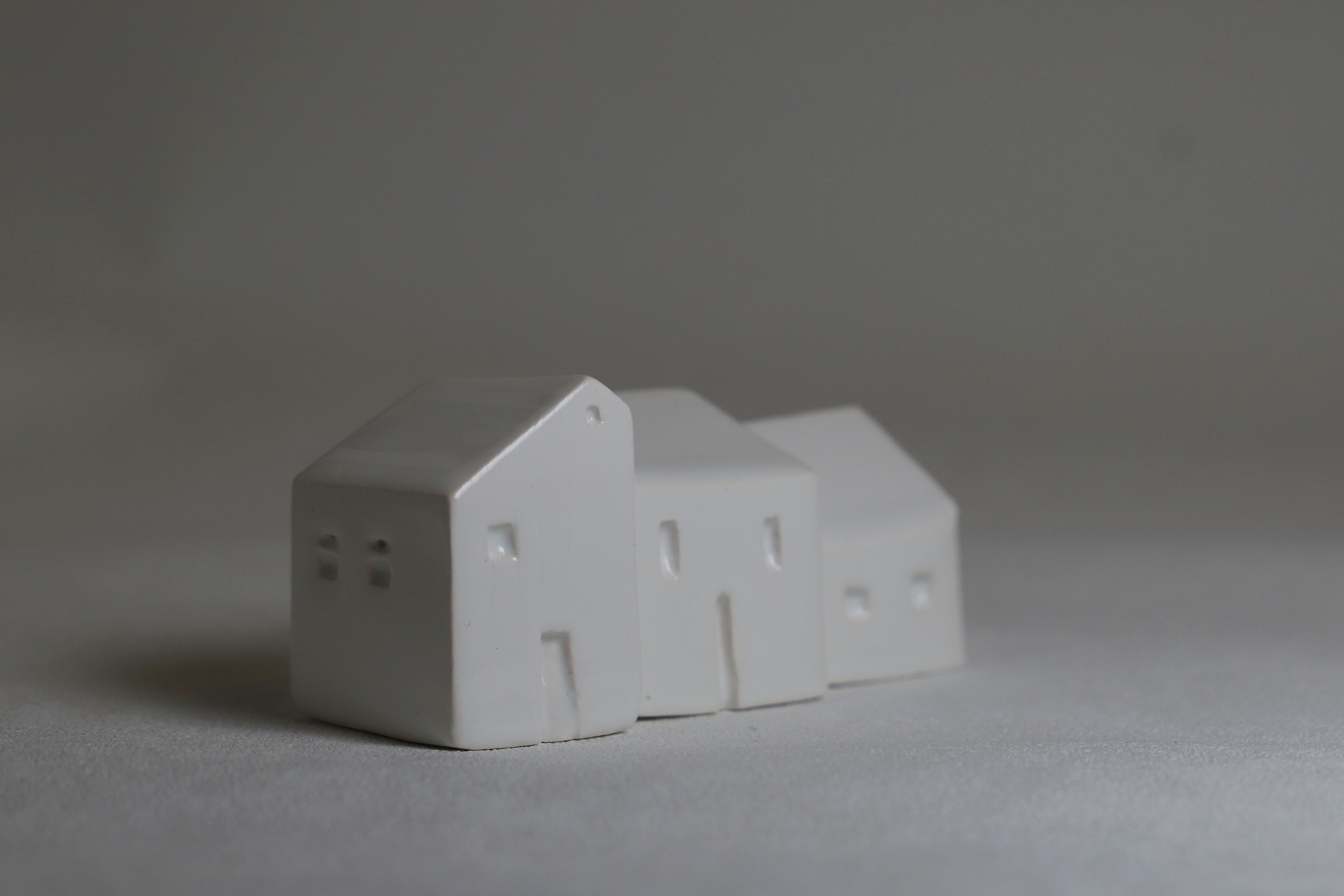 White Ceramic Houses Set Of 3 Small White Ceramic House Sculptures