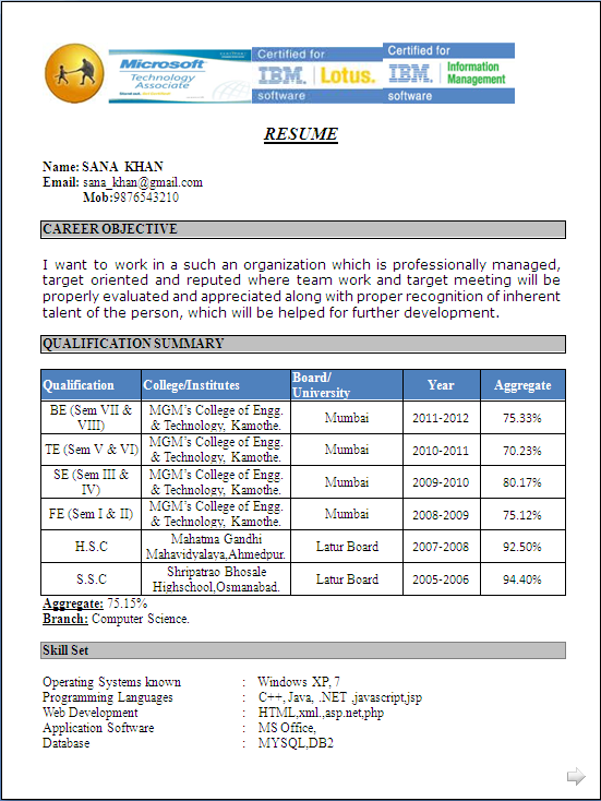 Free Download Resume Sample Fresher: You Might Have Noticed That