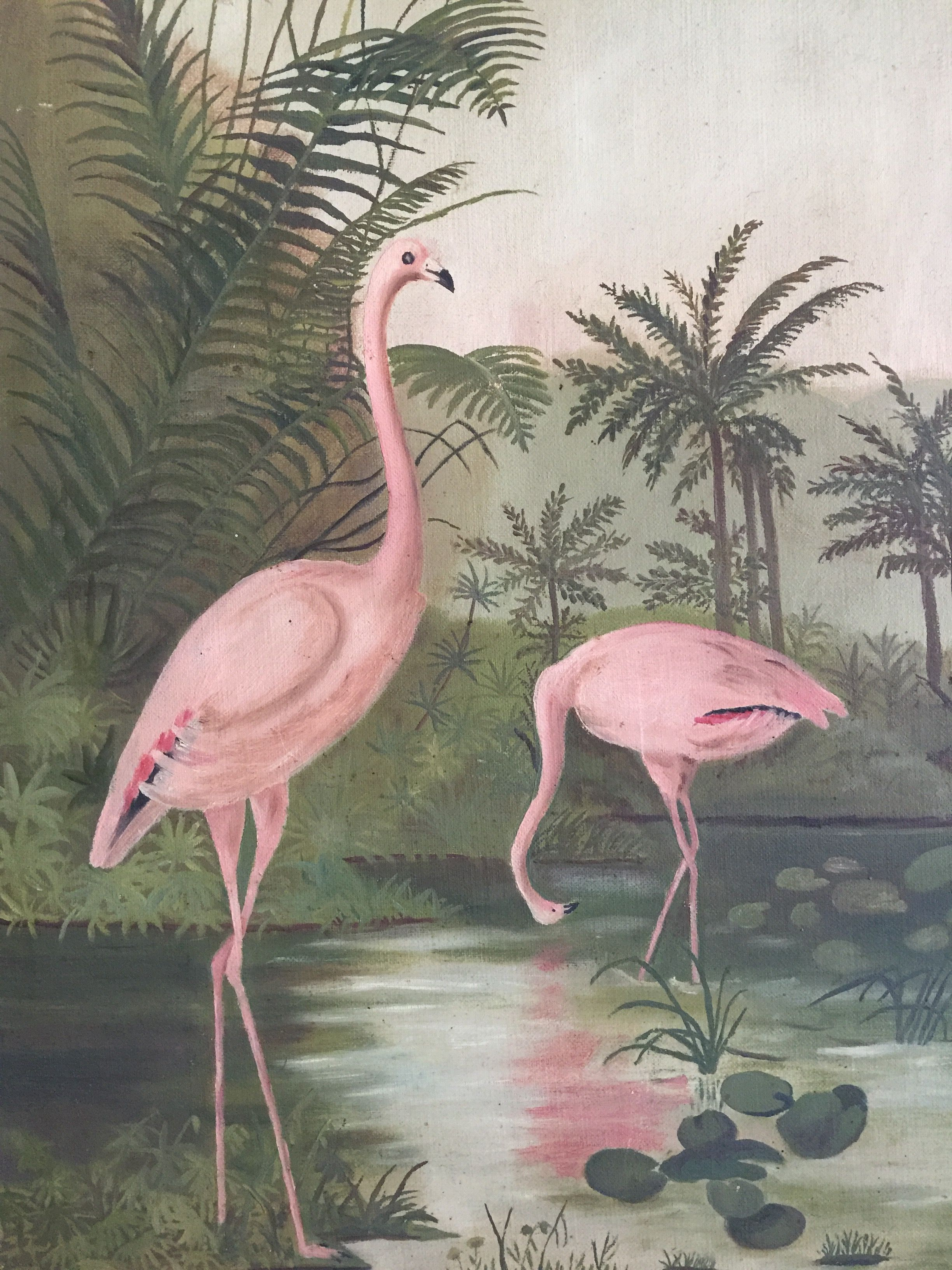 35bf7aad339fc Flamingos. Early 20th Century Naive painting. Oil on Canvas ...