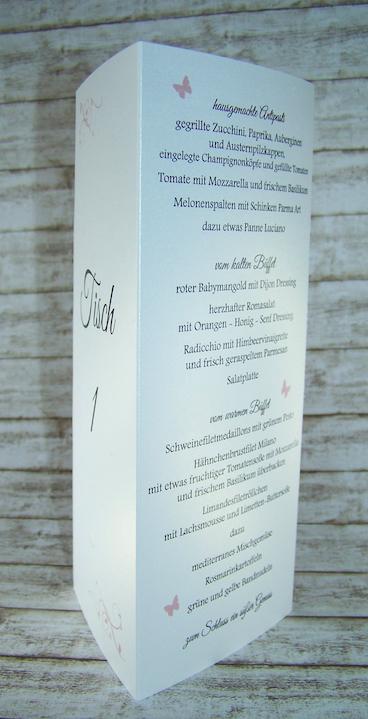 Men Hochzeit Aufsteller 3seitig  Menkarten zur