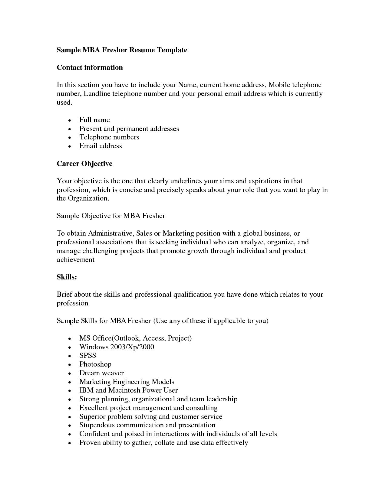 Mba Fresher Resumes - http://www.resumecareer.info/mba-fresher ...