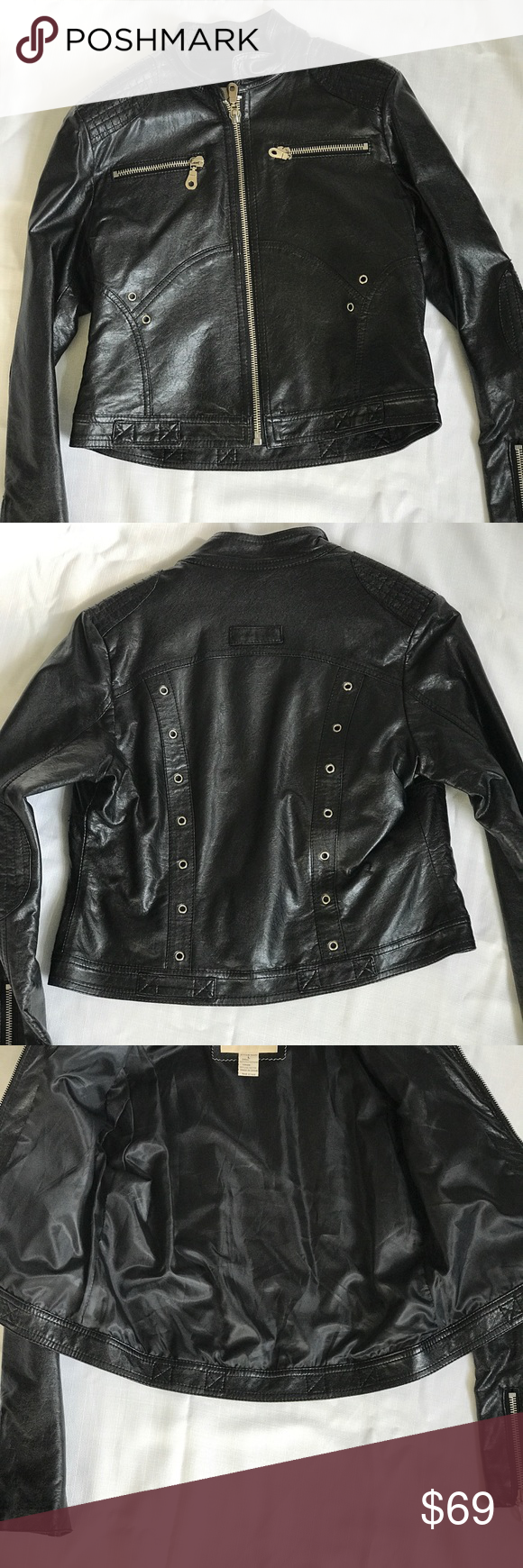 Biker Style Leather Jacket Faux leather, this jacket has