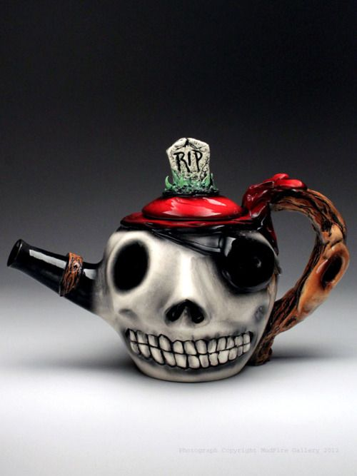 (via Pirates and Zombie ceramics, pottery for sale at MudFire Gallery for clay)    Pamela Segers  Pirate Teapot