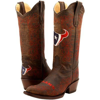 Houston Texans Womens Flyover Pull-Up Cowboy Boots - Brown/Red ...