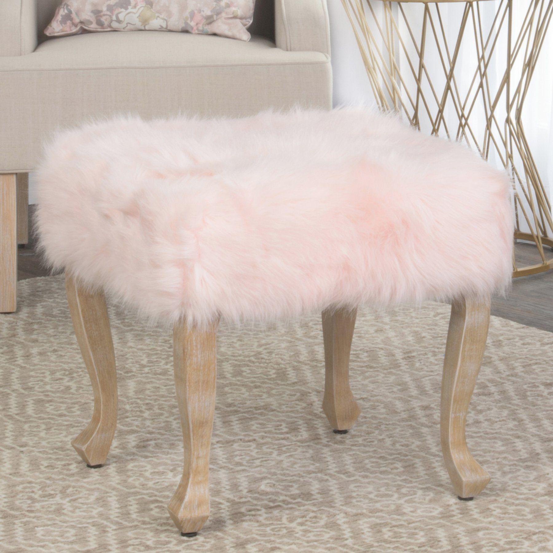 HomePop Fur Square Stool K7501B233 Fur stool, Faux