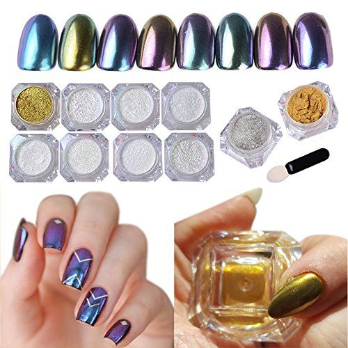 NICOLE DIARY 10Box Mirror Powder Sequins Chrome Nail Powder Pigment Glitters Nail Art Decoration with DIY Brushes *** Continue with the details at the image link.