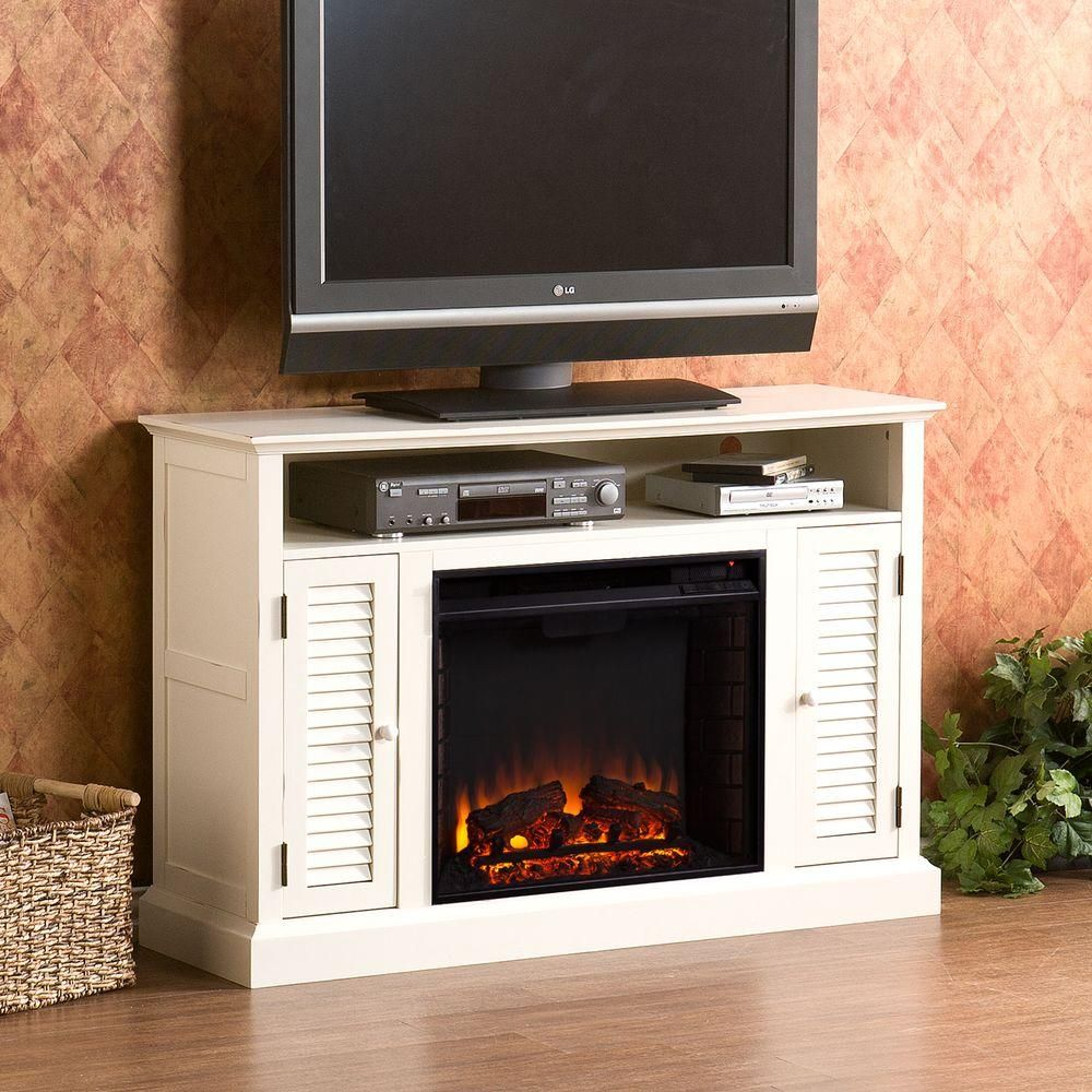 Gabriella in freestanding media electric fireplace in antique