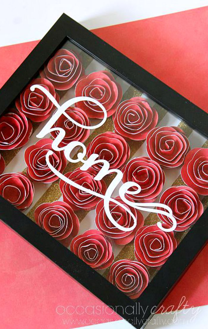 Home Wall Art In D Flower Shadowbox Paper Flowers D And Flowers - How to make vinyl wall art with cricut