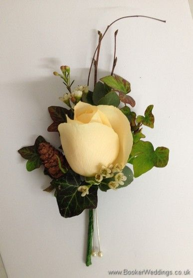 Winter Woodland Wedding Theme Pin Corsage using Cream Avalanche roses, waxflowers, copper fircones and twigs. Wedding Flowers Liverpool, Merseyside, ...