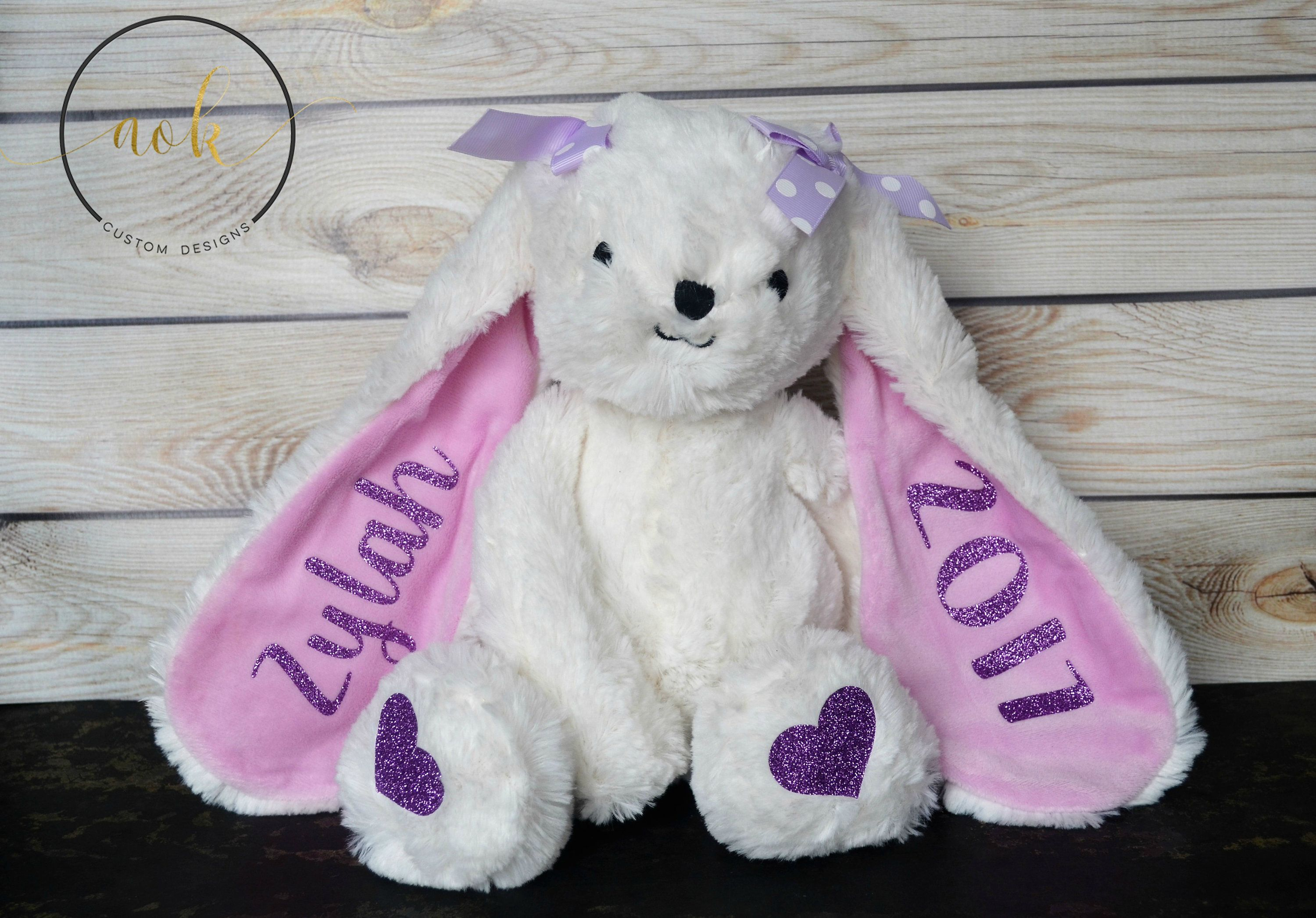 Personalized Stuffed Animal Personalized Plush Personalized Easter Bunny Kids B Personalized Easter Bunny Personalized Stuffed Animals Easter Gifts For Kids