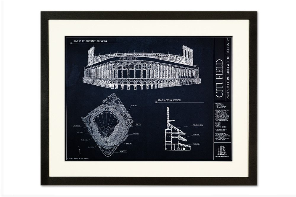 Citi field new york mets apartment wall art apartment walls citi field new york mets from ballpark blueprints ballpark blueprint wall art baseball malvernweather Image collections