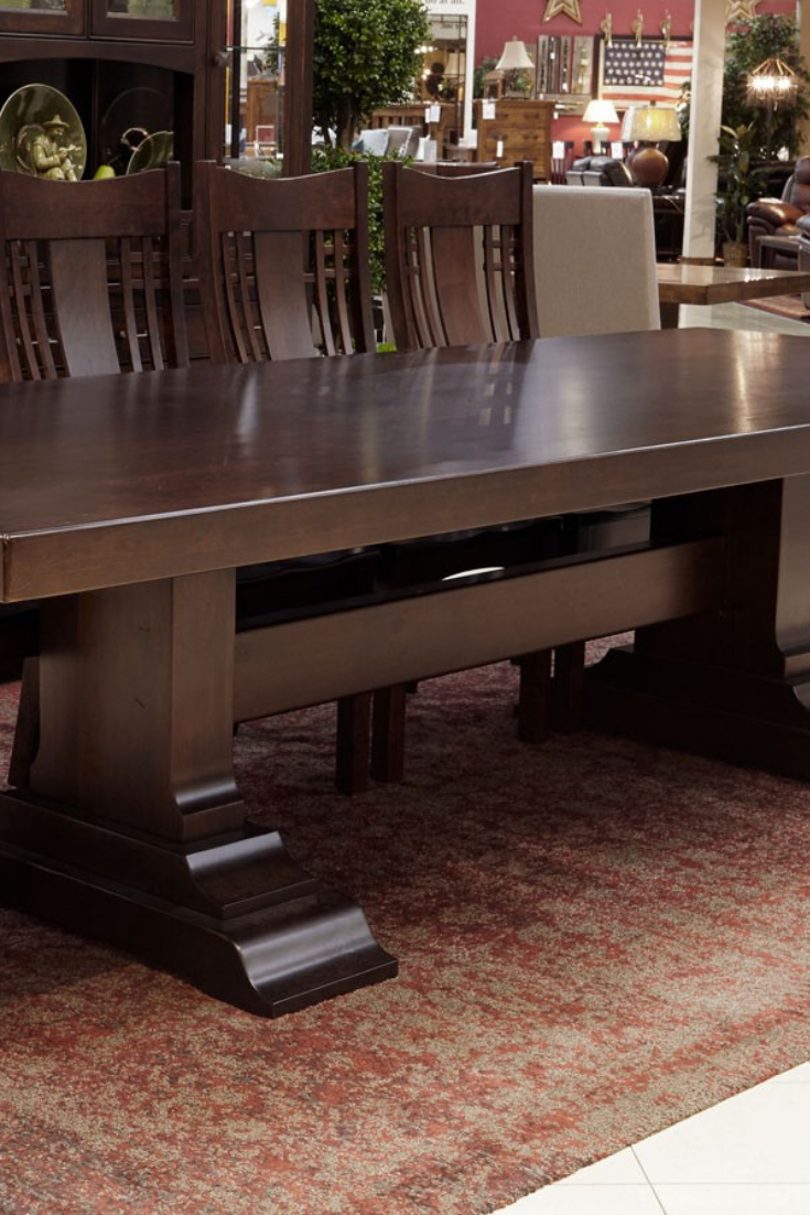 Huntsville Solid Cherry Trestle Wood Dining Table Salle A Diner Table Diner