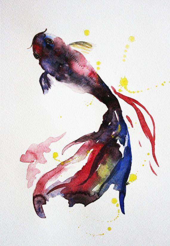 Poissons De Koi Original Peinture A L Aquarelle Art De L