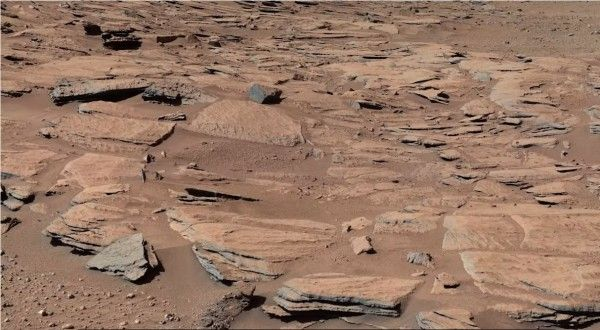 Photo of rocky outcroppings on Mars' surface from NASA's Mars Rover Curiosity. New Research Says Mars Was Cold and Icy, Not Warm and Wet http://www.visiontimes.com/2015/06/23/new-research-says-mars-was-cold-and-icy-not-warm-and-wet.html