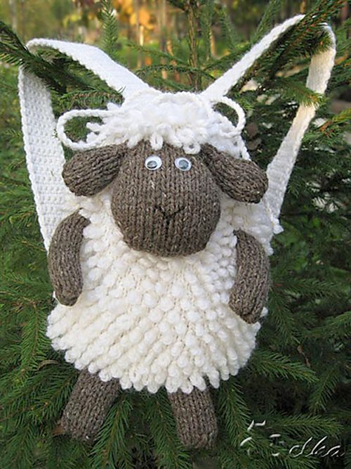 Free Knitting Pattern for Sheep Backpack - Adorable drawstring backpack with sheep face flap and loopy stitch wool. 17 cm x 11 cm x 23 cm. Designed by Tatyana Fedorova #face