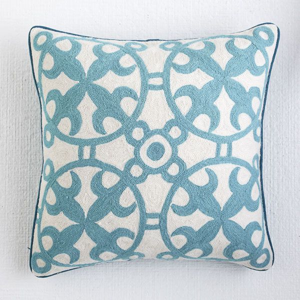 Wisteria - Accessories - Pillows & Cushions - Moroccan Crewelwork Pillow Cover - Blue - $49.00