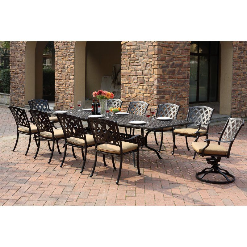 Outdoor Darlee Ocean View Aluminum 11 Piece Rectangular Extension Patio Dining Set - 201630-11PC-30LE