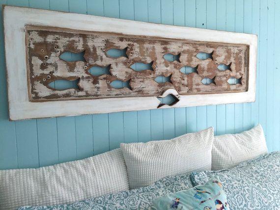 Wood School Of Fish Wall Art Headboard Queen Size Sign Driftwood