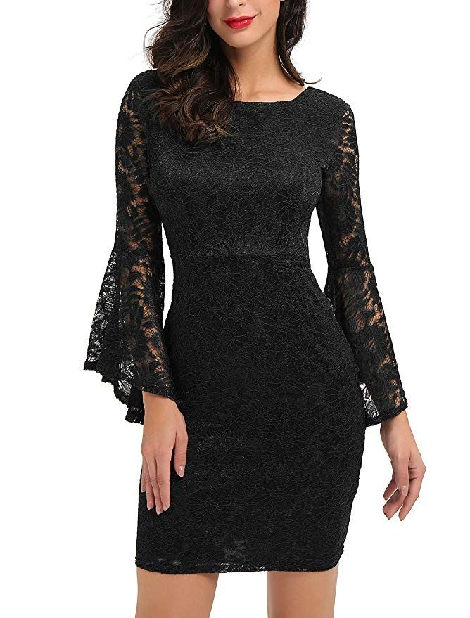 e3d12cdfda750 Noctflos Reversible Bell Sleeve Lace Bodycon Cocktail Mini Dress for ...