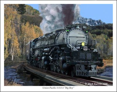 Mark Karvon Painting Of Union Pacific Big Boy 4012 Union Pacific Train Steam Locomotive Locomotive