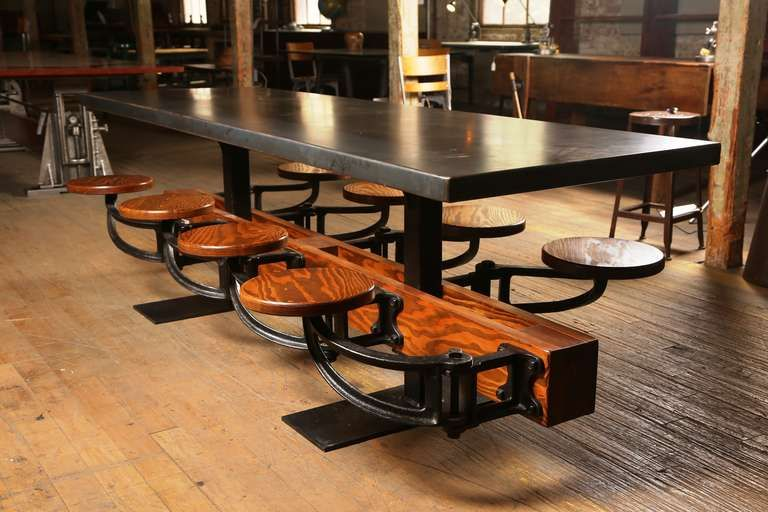 Eight Seat Communal Steel Top Dining Table With Cast Iron Attached Swing Seats In 2020 Dining Table Modern Dining Room Tables Dining Room Table
