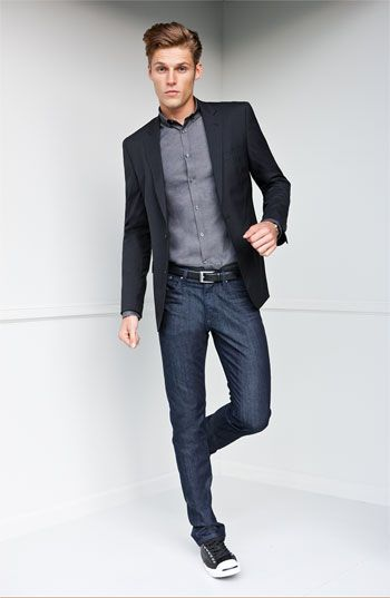 72fb2e00b Sport coat with gray shirt, jeans and sneakers. Awesome!!!! | Style ...