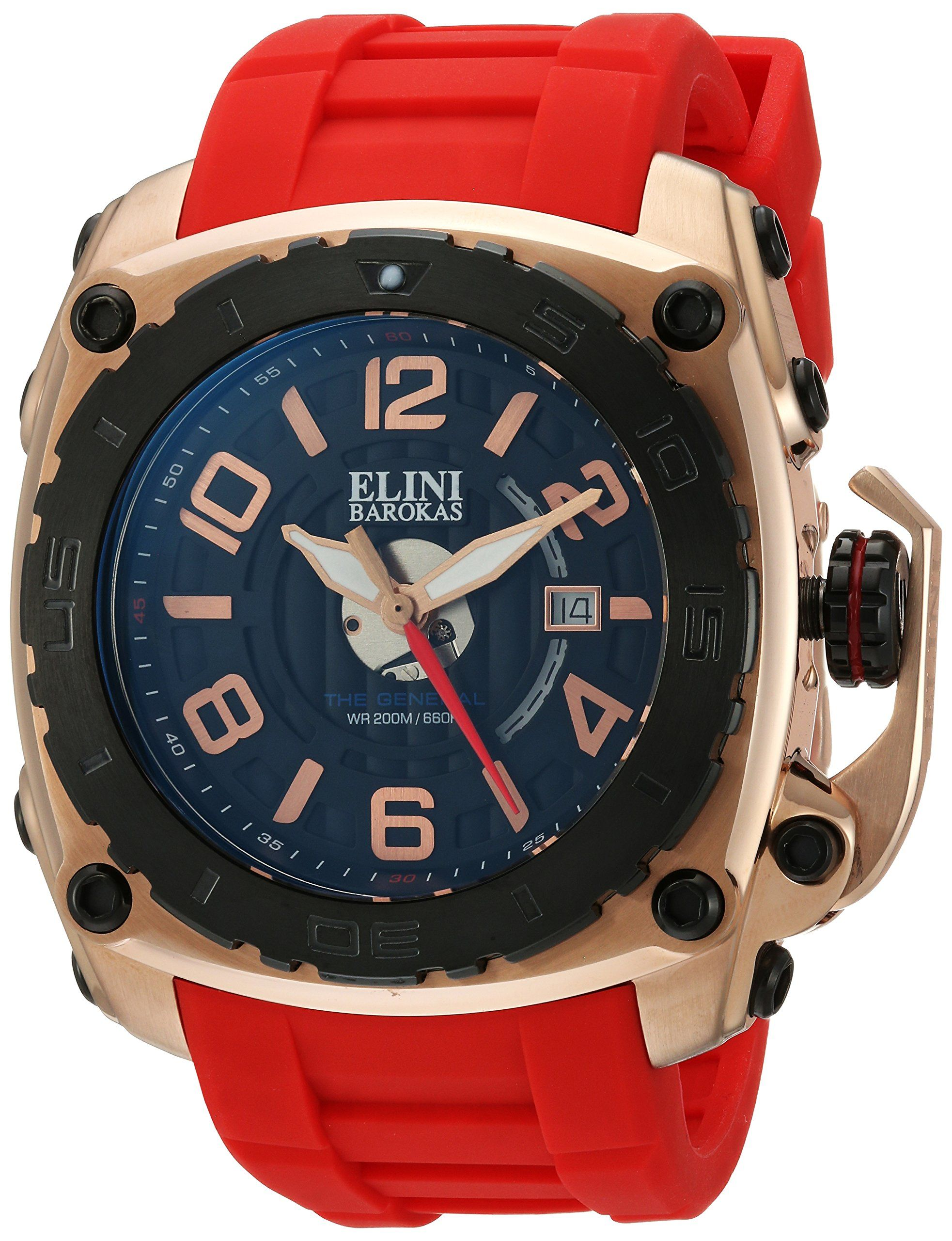 Elini Barokas Men's 'The General' Swiss Quartz Stainless Steel and Silicone Casual Watch, Color:Red (Model: 20009-RG-01-BB-RDS). Date Window at 3:00; Unidirectional Black Ion-Plated Stainless Steel Bezel; Black Ion-Plated Screw-Down Crown with Security Clasp. Black Dial with Rose Gold Tone, Red and White Hands and Rose Gold Tone Hour Markers and Arabic Numerals; Luminous; Sapphitek Crystal; Rose Gold Tone Ion-Plated Stainless Steel Case; Red Silicone Strap. Swiss-quartz Movement. Case...