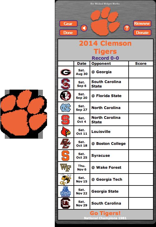 Free 2014 Clemson Tigers Football Schedule Widget Go