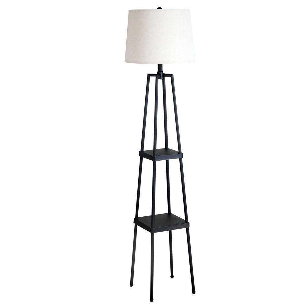 Catalina Lighting 58 In Distressed Iron Etagere Floor Lamp With Linen Shade 19305 000 The Ho Floor Lamp With Shelves Farmhouse Floor Lamps Metal Floor Lamps