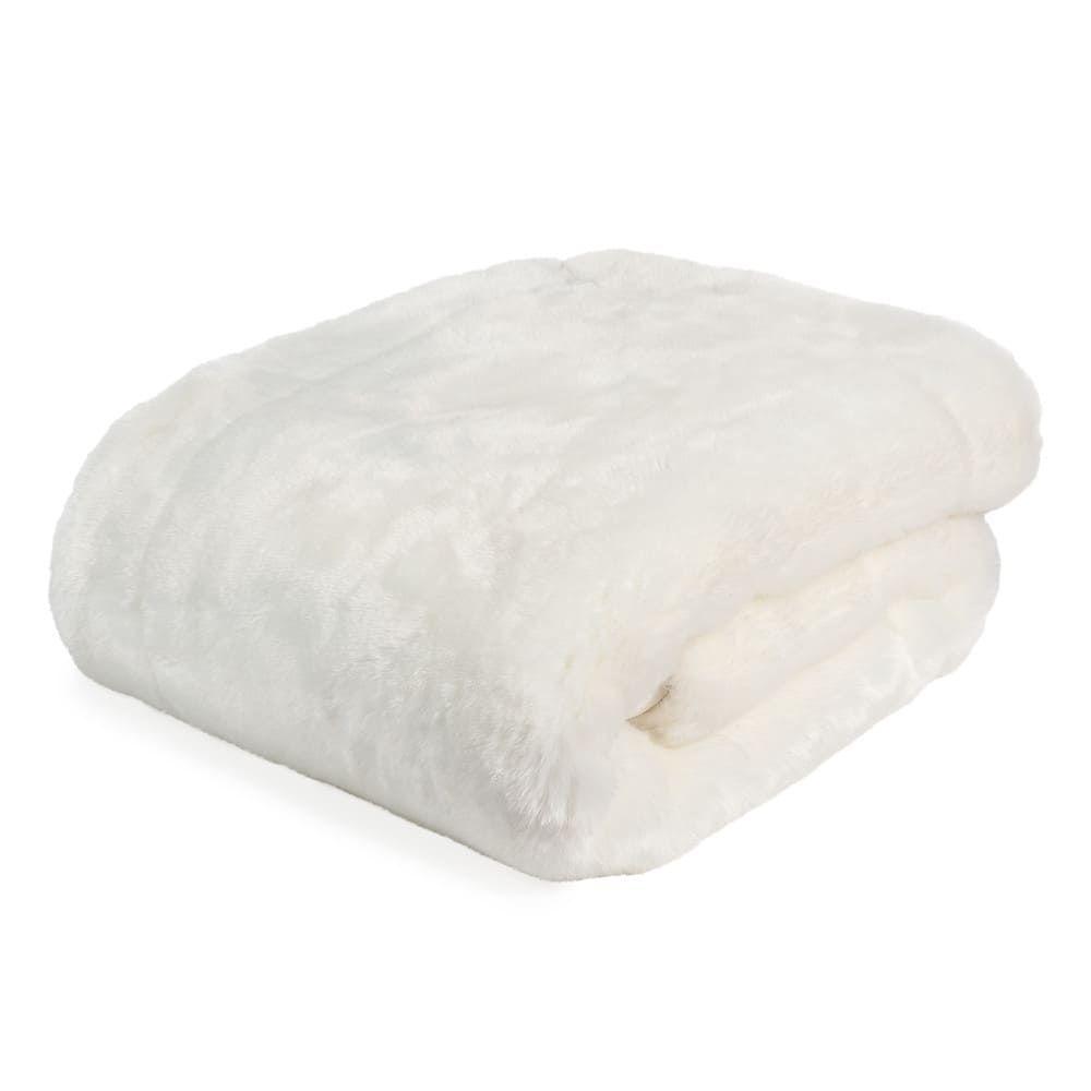 Manta de imitaci n de piel blanca 150 x 180 cm snowdown en - Mantas de piel ...