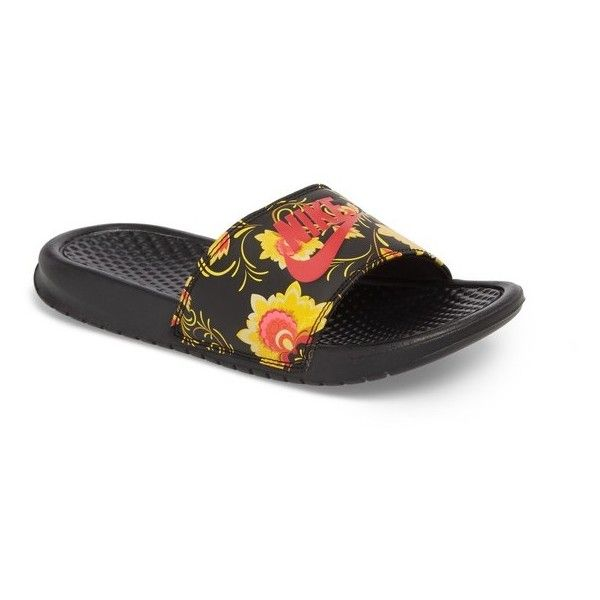 4e3a3864d ... discount code for womens nike benassi floral print slide sandal 30  liked on polyvore featuring shoes