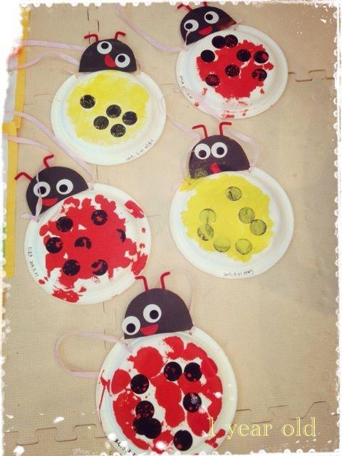1歳さんクラス お花畑とてんとう虫 てんとう虫 ペーパーフラワー