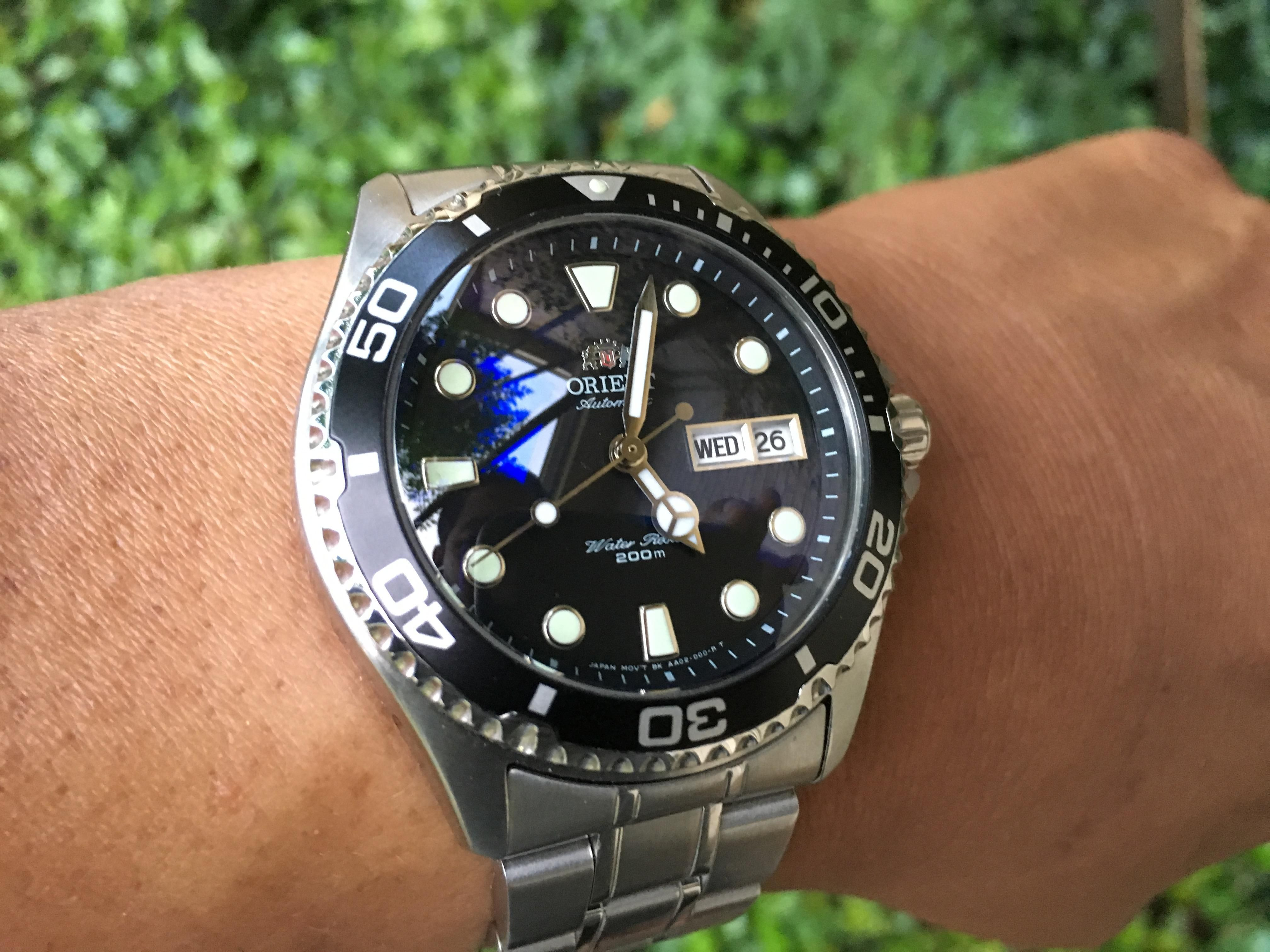 Orient Ray Ii Black Dial With Dagaz Mercedes Hands And Crystaltimes