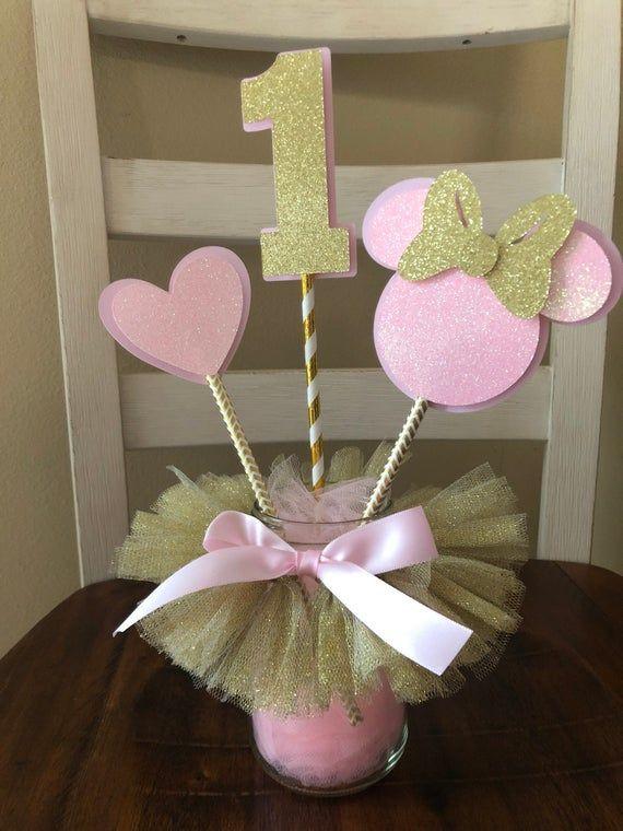 Minnie Mouse rosa y oro cumpleaños decoraciones pastel topper pieza central