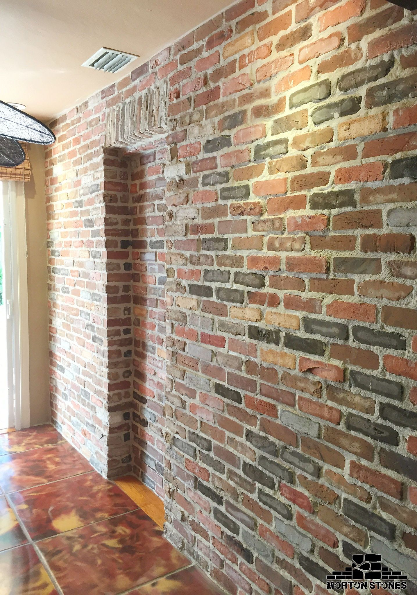 This Is What We Called A Beautiful Red Brick Veneer Wall Mortonstones Brick Tiles Rustic Thinbrick Ho Brick Cladding Brick Tile Wall Brick Interior Wall