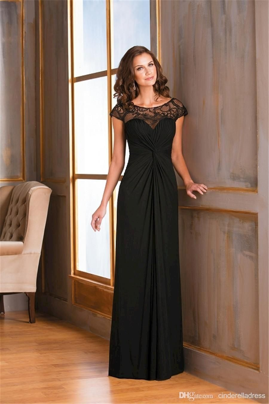2017 Black Long Cap Sleeves Mother Of The Bride Dresses Sheer Lace