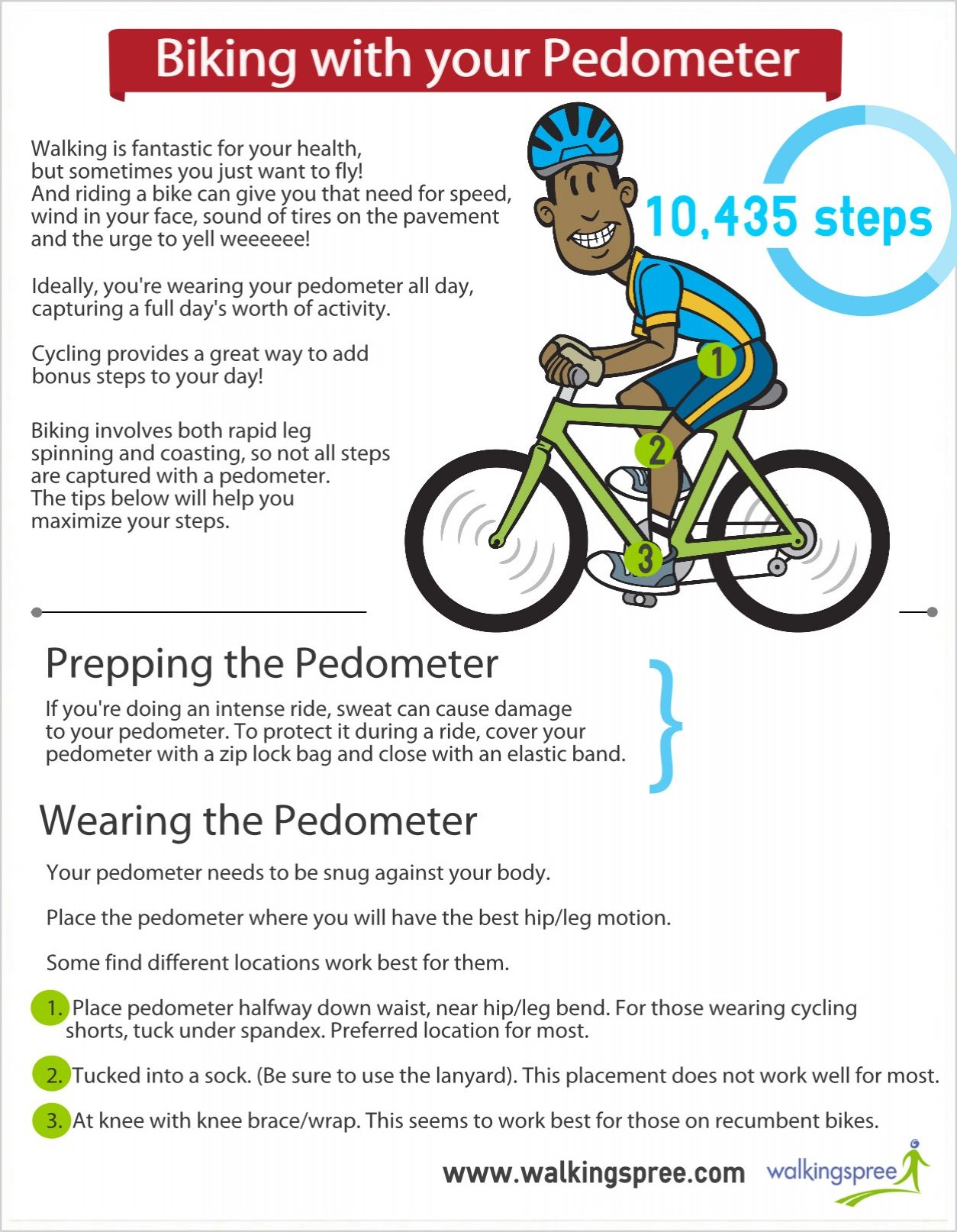 Biking With Your Pedometer Infographic Pedometer For Your Health