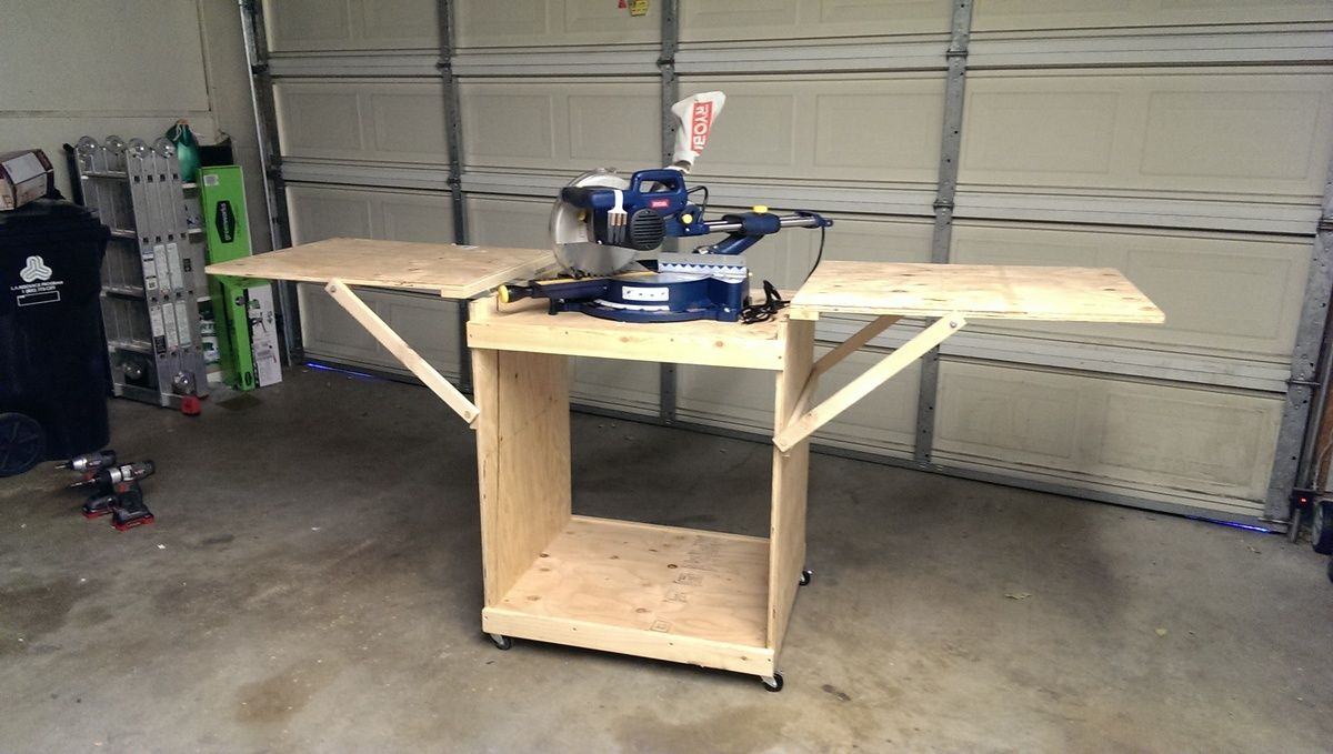 Miter Saw Cart Ana White Diy Table Saw Miter Saw Beginner Woodworking Projects