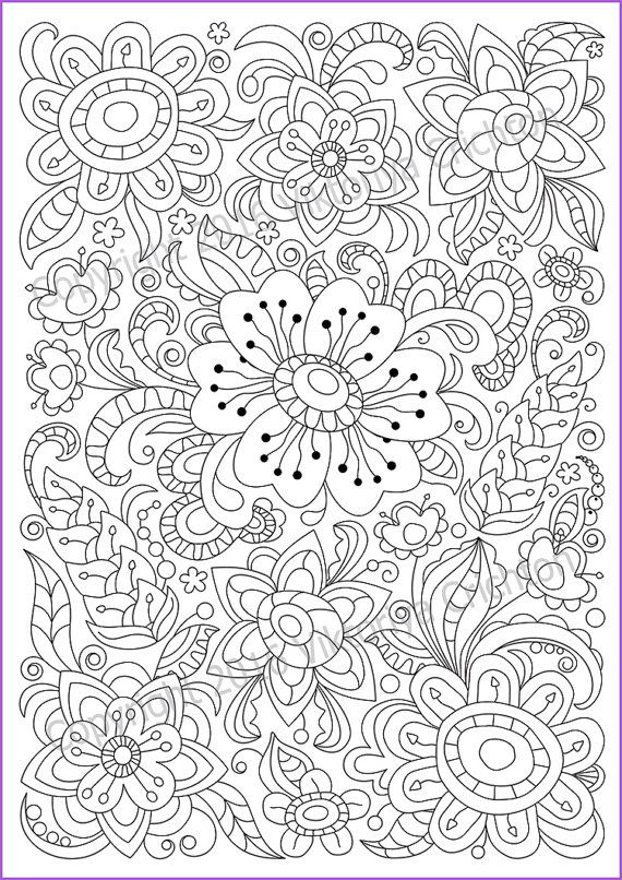 Coloring Page PDF Adults And Children Printable Doodle Flowers Zendoodle Zentangle Inspired Print A4 Paper Paint The Well Sharpened Colored Pencils Or