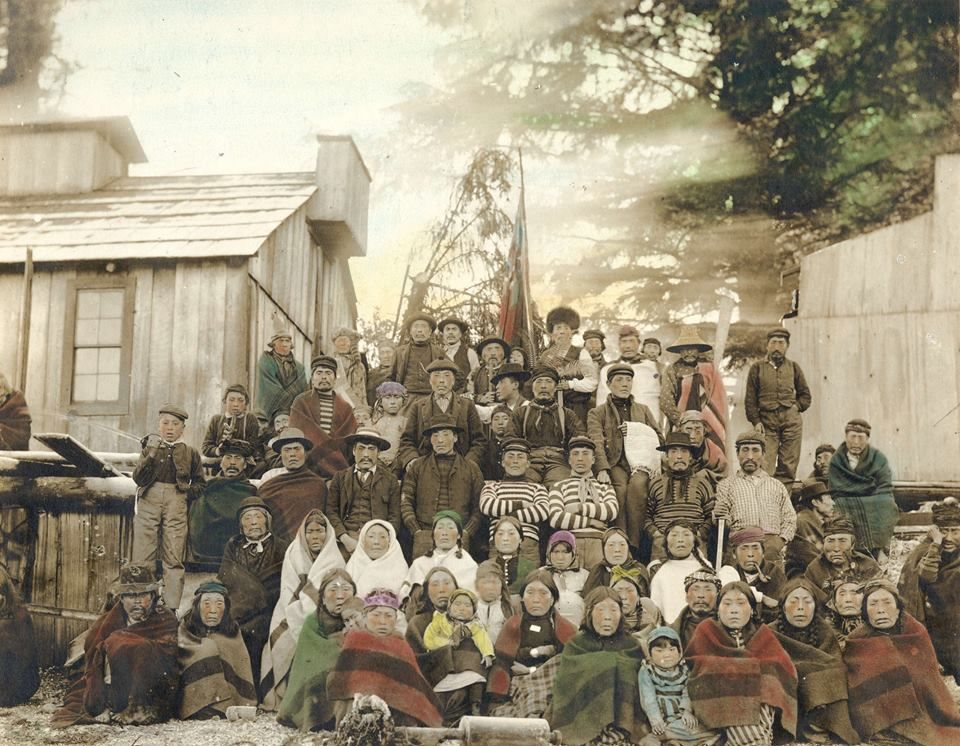 Group at a Potlatch. ca. 1900. British Columbia. Photo by