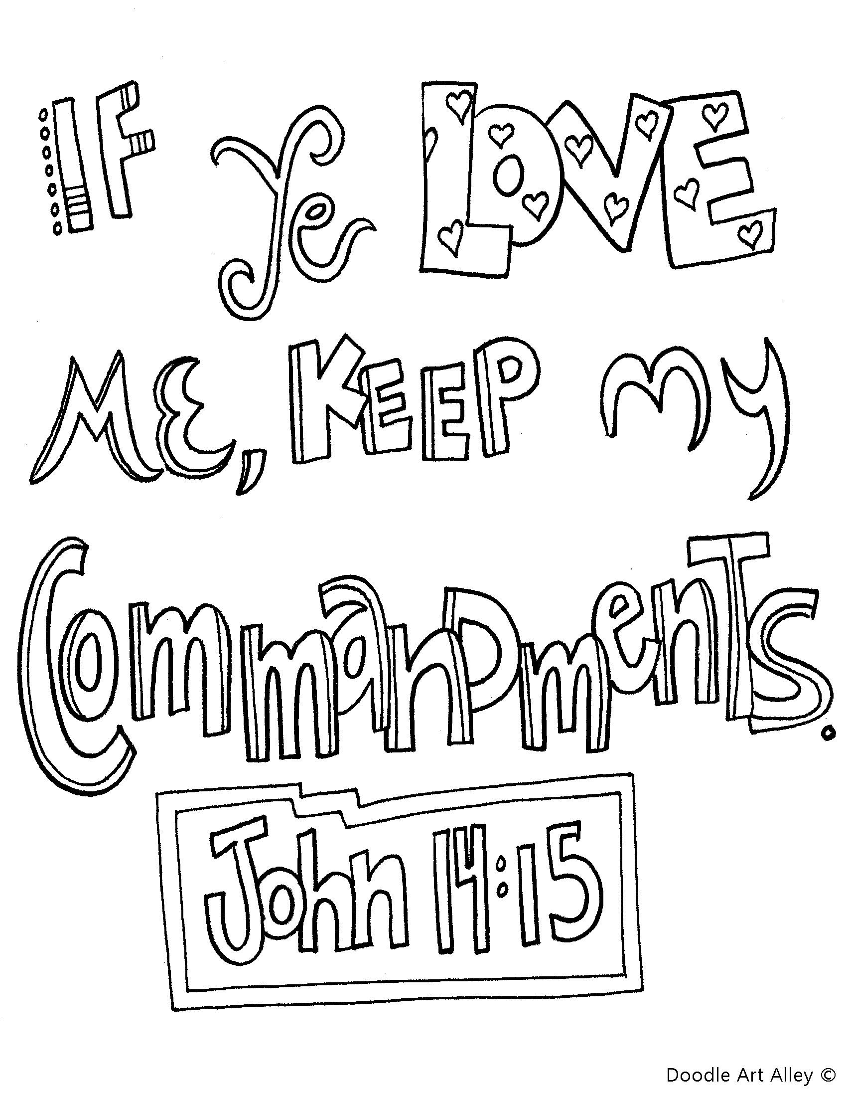 John 14 15 If You Love Me Keep My Commandments Coloring
